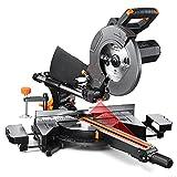 Troncatrice, 2000W Troncatrice Radiale con Laser Integrato, Doppia Velocità di Giri 3200/4500 rpm, 3 Dischi Ø 255mm, Troncatrice a Doppio Taglio Inclinato con Guida Laser, Prolunghe Piano