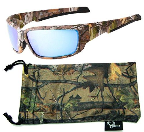 Hornz Brown Forest Camouflage Polarisierte Sonnenbrille für Männer Full Frame Starke Arme & Free Matching Microfaser Beutel – Brauner Tarnrahmen – Blaues Objektiv