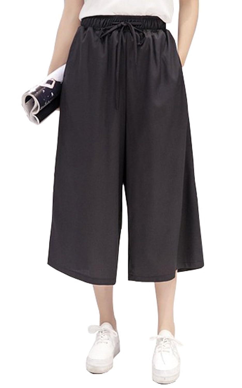 ELPIS レディース カラフル プチプラ カジュアル 7分丈 ガウチョ パンツ ワイド パンツ スカンツ スカーチョ キュロット ウエスト ゴム 5色 S M L XL(ブラック,XL)