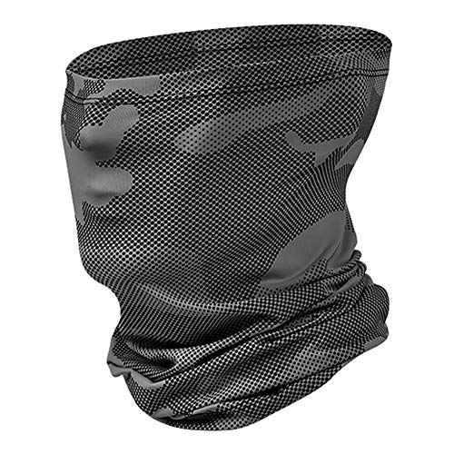 Sireck Neck Gaiter Half Face mask, Bandana, Magic Scarf, Headband, Cycling Cap, Headwear, Balaclava for Motorcycle, Running, Fishing, Hunting (Gray Camouflage)