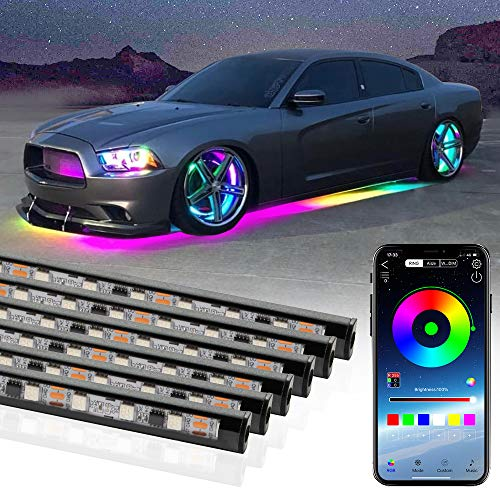 6 Pcs Underglow LED Lighting Kit, MIHAZ Dream Color Chasing Underglow Lights for Cars Exterior Neon Accent Strips Smart APP Control Multi Colors, 200+ Modes, Soundsync, Waterproof (4×60cm+2×150cm)