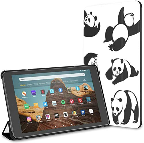 Case for All-New Amazon Fire Hd 10 Tablet (7th and 9th Generation,2017/2019 Release),Slim Folding Stand Cover with Auto Wake/Sleep for 10.1 Inch Tablet, Set Decorative Illustrations Pandas