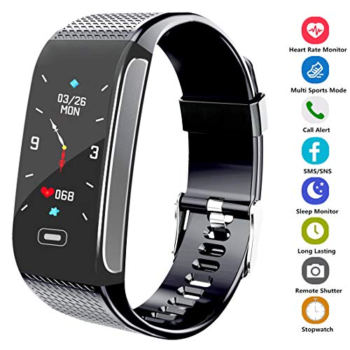 Hocent Fitness Tracker Activity Smart Watch with Pedometer Heart Rate Monitor Step Calorie Tracker Waterproof IP67 Call SMS SNS Alert Stopwatch for Men Women Teens Compatible for Android IPhone Black
