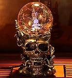 Aibote Magic Skull Head Glass Lightning Plasma Ball Touch Sensitive Night Light Lamp Bedroom Home Parties Decorations Novelty Toy Chrismas Halloween Gift