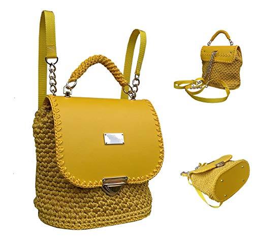 Gelber Öko-lederrucksack mit Kette.Damentasche mit rucksackfunktion. EXKLUSIVER Designer gehäkelte Rucksack.Ungewöhnlichen Design.Unikat