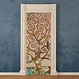 Adesivi per Porte in PVC Premium, Door Cover Albero della Vita Klimt, Applicazione Facile e Senza Bolle, Rivestimenti per Porte da Interno 83 x 210 Rifilabili