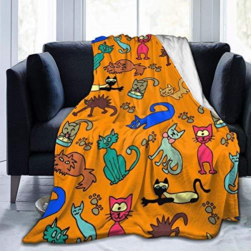 Manta de microfibra de franela con estampado de huellas de gato colorido con manta de felpa cálida y difusa manta de toalla ligera para cama, sofá, sala de estar, adolescentes, 60 x 50 pulgadas