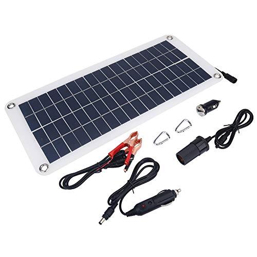 Hozee Cargador Solar, Cargador Solar Portátil Cargador Solar Al Aire Libre 10.5W 18V con Dos Adaptadores para Batería De Barco De Coche De Teléfono Móvil