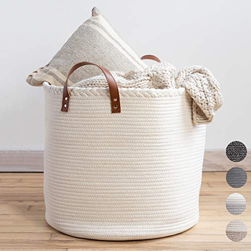 XXL Premium Cotton Rope Basket 18'x18'x16' - Big Basket for Blankets Living Room – Woven Laundry Basket- White Basket - Large Blanket Basket Living Room - Storage Basket - Large Baskets for Blankets