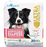 Paw Inspired 20ct Disposable Dog Diapers | Female Dog Diapers Ultra Protection Disposable Puppy Diapers Female | Diapers for Dogs in Heat, Period, Excitable Urination, or Incontinence (Large)
