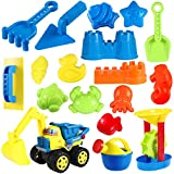 Toyvian Beach Sand Toys Set 18PCs Includes Beach Molds, Sandbox Vehicle, Water Wheel, Watering Can, Beach Shovel Tool Kit, Sand Toys for Toddlers Kids Outdoor Play (Random Color)