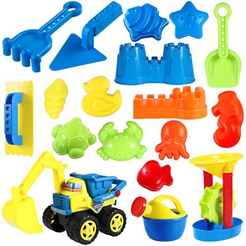 Toyvian 18 Stück Strand Sandspielzeug Set mit Sand Förmchen, Technisches Fahrzeug, Gießkanne, Wasserrad, Schaufel Werkzeugsätze, Netzbeutel, Strand-Sand-Spielzeug für Kinder