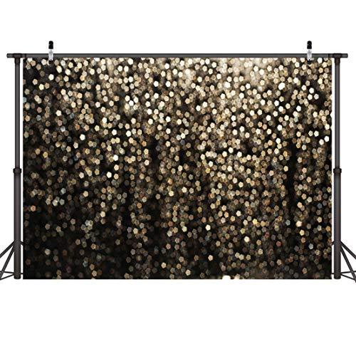 LYWYGG 7x5FT Or Bokeh Taches Toile de Fond Taches Dorées Photographie Toile de Fond Shinning Sparkle Sable échelle Fond Vintage Astract Glitter Dot Studio Accessoires Studio Photographie Fond CP-215