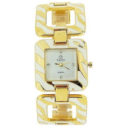 Taito London TLC1Yellow Gold - Reloj para Mujeres, Correa de Metal Multicolor
