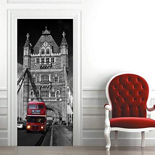 FCFLXJ 3D Mural puerta Fondo pantalla cristal poster Puente de Londres 77x200cm armario Decoración Hogar Vinilo nfantiles Guardería Niños extraíble Sala Estar Espacio