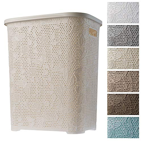 KADAX Wäschekorb, Wäschetruhe mit Deckel aus Kunststoff, Wäschesammler, Wäschesortierer für Bad, Kleidung, Spielzeug, Verzierungen, durchbrochenes Muster, 55l, leicht (Creme)