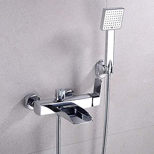 ZYQHJKLHK Grifos de baño Mezclador con Juego de Ducha Cascada Latón Negro Una manija Grifo de Agua fría y Caliente para baño-Cromado