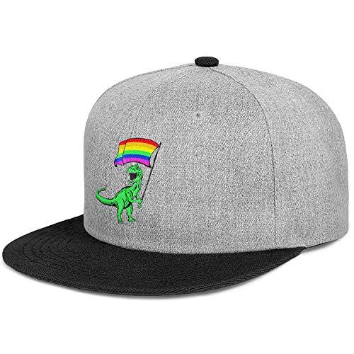 Rawr Pride Parade Gay & Lesbian Rainbow Flag Unisex Cotton Flat Brim Hat Adjustable Hip Hop Snapback Trucker Cap
