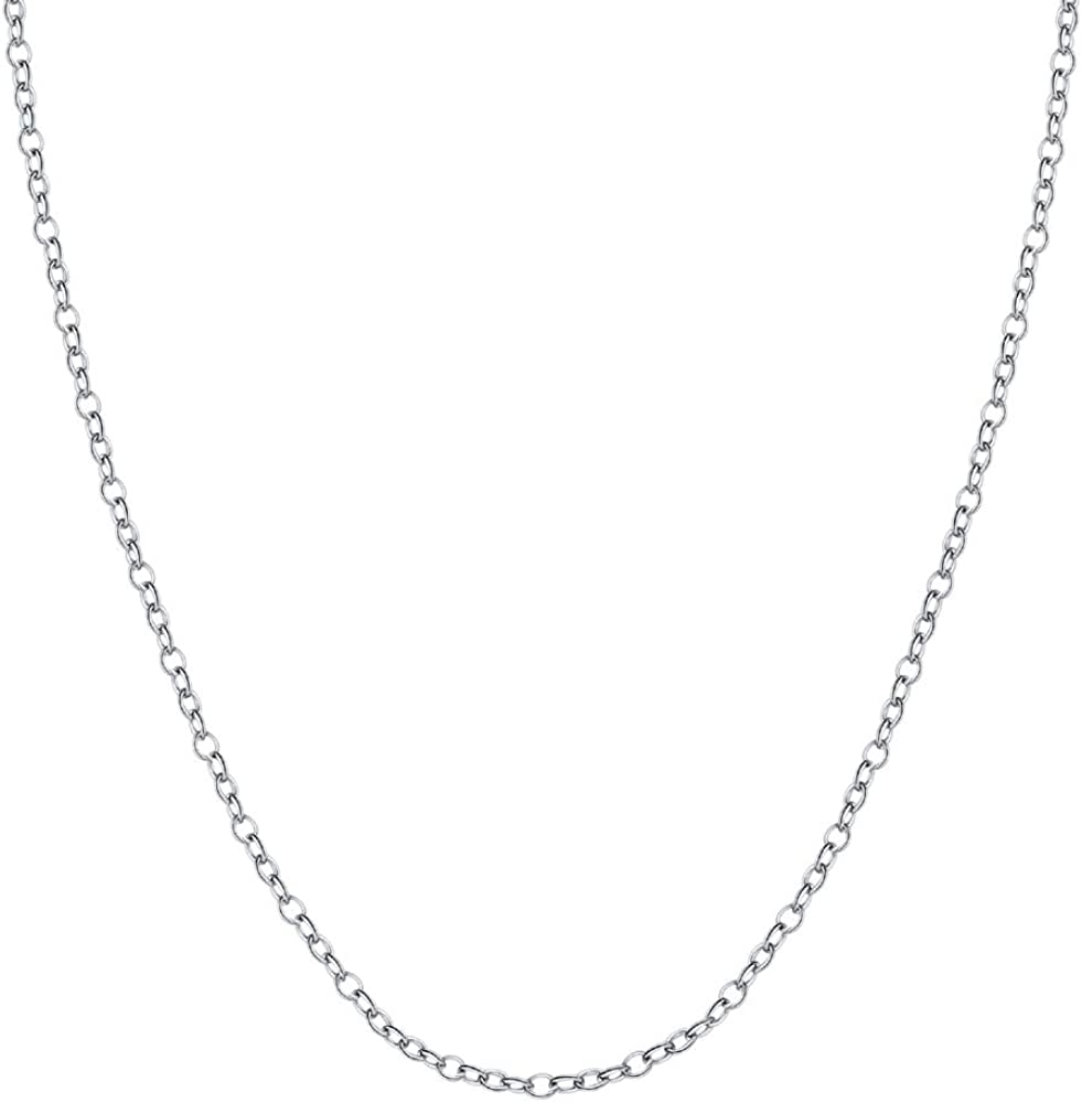 BORUO 925 Sterling Silver Cable Chain Necklace, 1.5mm Solid Italian Nickel-Free Lobster Claw Clasp 22 Inch: Jewelry