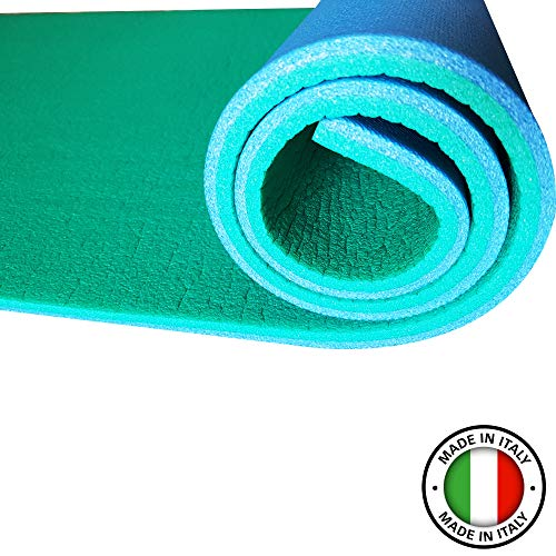 Hic et Nunc Sport Tappetino Yoga Palestra in Casa Home Gym - Tappetino Fitness Palestra 100{1b2514a41bcf67684751d071dd3ce880959fe615ad9dd75882c8597f1a96dc50} Made in Italy - Materassino Palestra Yoga Mat 180 cm x 55 cm, Spessore 1,2 cm