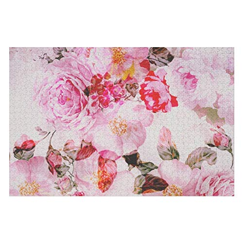 Jigsaw Puzzles 1000 Piece for Adults - Art Wall Hanging Home Decor Puzzles - Vintage Pink Pastel Watercolor Floral Puzzle