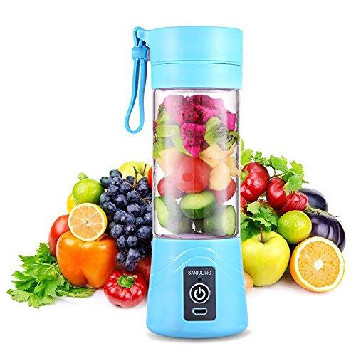 QYC® Mini Batidora Portátil, Licuadora para Fruta, Recargable Juice Blender con USB, Centrífuga Licuadora con Contenedor de Jugo para Smoothies, Zumos de Fruta y Verdura, Milkshake (Azul)