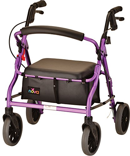 NOVA Medical Products Zoom Rollator Walker with Seat Height, Purple No Flavor, 18 Inch