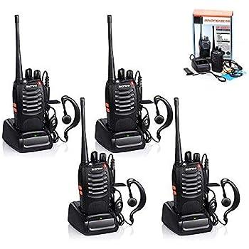 Sekuai 4-Way Radio UHF Handheld 400-470MHz CTCSS/DCS Flashlight with Earpiece Walkie Talkie -4-Pcs