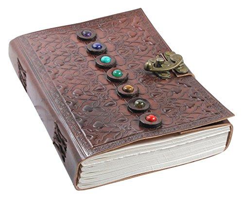 Notizbuch Leder Travel Journal Tagebuch - Handgemachtes Ledergebundenes Travelers Notebook für Mann & Frau Mit Sieben Chakra Stone - Reisetagebuch Zum Selberschreiben, Blanko Paper, 15 x 22 cm