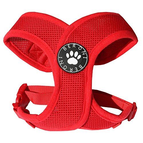 Softgeschirr Hundegeschirr Brustgeschirr XCross weich gepolstert verstellbar für kleine Hunde bis Mops rot Mesh NEU! S - L (M: (Brustumfang 40-51 cm))