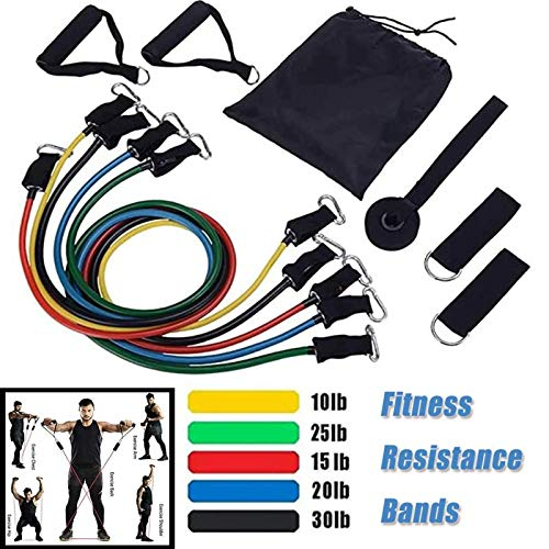 GENMAIR 11PCS Resistance Band Set,Exercise Bands with Door Anchor,Handles and Carry Bag,Legs Ankle Straps for Resistance,Home Workouts Gym Equipment,Physical Therapy,Yoga,Pilates