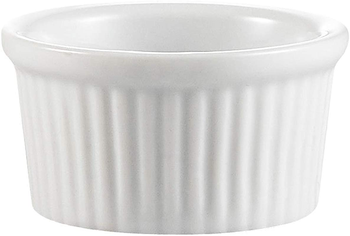 CAC China Accessories 3 Inch By 1 3 8 Inch 3 Ounce Super White Porcelain Round Fluted Ramekin Box Of 48