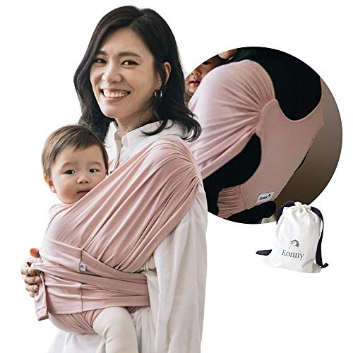 Konny Baby Carrier | Ultra-Lightweight, Hassle-Free Baby Wrap Sling | Newborns, Infants to 44 lbs Toddlers | Soft and Breathable Fabric | Sensible Sleep Solution (Pink, S)