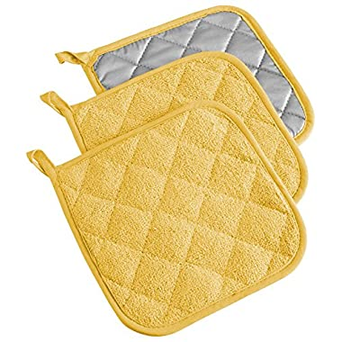 DII Cotton Terry Pot Holders, 7x7 Set of 3, Heat Resistant and Machine Washable Hot Pads for Kitchen Cooking and Baking-Yellow