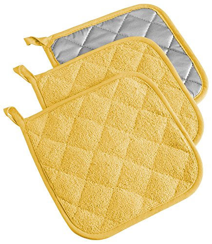 DII 100% Cotton, Quilted Terry Oven Set Machine Washable, Heat Resistant with Hanging Loop, Potholder, Yellow 3 Count