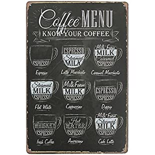 Livecity Coffee Bar Menu Vintage Sign Pub Shop Home Wall Decor Retro Metal Art Poster:Kisaran