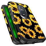 Miss Arts Moto G6 Play Case, Slim Anti-Scratch Protective Kit with [Drop Protection] Heavy Duty Dual Layer Hybrid Sturdy Armor Cover Case for Moto G Play 6th Generation -Sunflower/Black