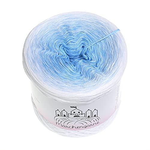 LiLu´s Märchengarne (69,00€/kg) Farbverlaufsgarn Himmelblau 200g - 760m Weiss außen 4 Fädig Bobbel