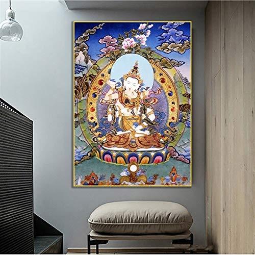 Z.L.FFLZ Tibetisch Glaube Thangka Yamantaka Buddha Religiöse Segeltuch Druck Malerei Poster Wandkunst Bild für Wohnzimmer Flur Dekoration (Color : Only Canvas Painting, Size (Inch) : 35x50cm)