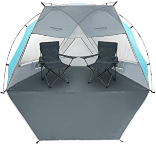 Bessport Beach Tent Sun Shelter Canopy UPF 50+ Silver Coating with Extended Zippered Porch-Tent for Beach, Fishing, Hiking Camping Lightweight with Carrying Bag