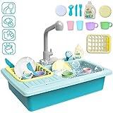 deAO Fregadero Electrónico de Cocina Conjunto de Juguete para Lavar Platos Accesorio de Cocinita Infantil Juegos de Imitación para Niños y Niñas (Azul)