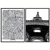 Pack 3 Láminas Blanco y Negro Paris. 2 Láminas Decorativas 50x70, Incluye Regalo 1 Poster 30x40. Decoración salón Modernos. Cuadros Baratos para dormitorios Modernos, Comedor, habitación y Oficina.