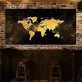 Said - Mapa abstracto en lienzo para decoración de habitación infantil, 50 x 100 cm, sin marco