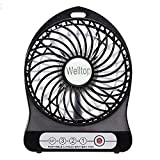 Welltop Electric Portable Mini Fan Rechargeable Desktop Fan 4-inch 3 Speeds Battery/USB Powered Household Summer Cooling Fan with 18650 Rechargeable Battery and USB Charge Cord (Black)