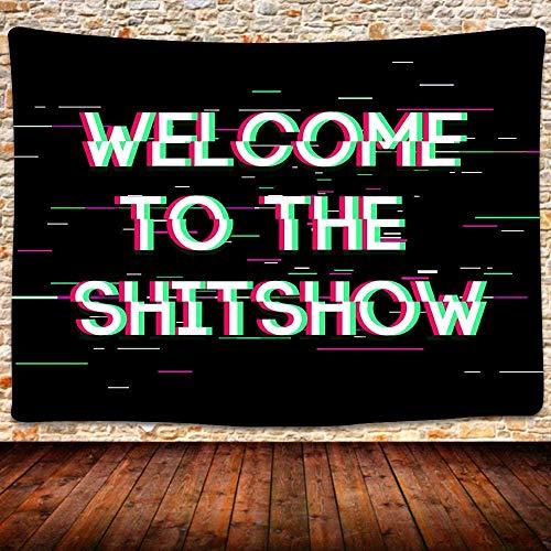 KBIASD Bienvenido a The Tapestry Tapiz Colgante de Pared Negro Tapiz artístico Divertido Tapiz Vintage para habitación Dormitorio Decoración del hogar 80x60 Pulgadas