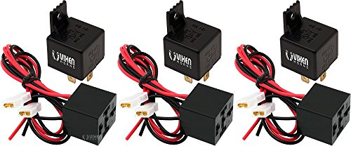 Vixen Horns 4-PIN Horn Relay 30A/12V with 4-PIN Pre-Wired Quick Connect Relay Plug/Socket - Bundle of Three relays and 3 Plugs VXK7801-3