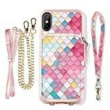 ZVE Case for iPhone Xs Max Case with Walllet iPhone Xs Max Crossbody Case with Card Holder Slot Handbag Purse Wrist Strap Pattern Print Case Cover for Apple iPhone Xs Max 6.5 inch - Mermaid Wall