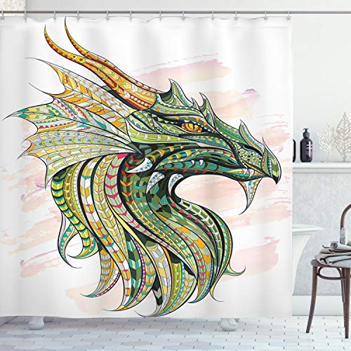"""Ambesonne Celtic Shower Curtain, Head of Dragon with Ornate Effects on Grunge Backdrop Mythical, Cloth Fabric Bathroom Decor Set with Hooks, 75"""" Long, White Green"""