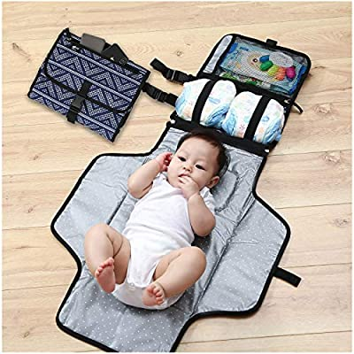 Baby Portable Changing Pad – Changing Pad Portable– Diaper Clutch – Lightweight Travel Station Kit for Baby Diapering – Detachable and Wipeable Mat and Soft Head Pillow – Perfect Baby Shower Gift