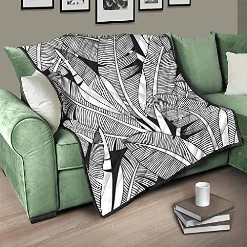 Flowerhome Colcha de hojas de plátano para cama o sofá, 230 x 260 cm, color blanco